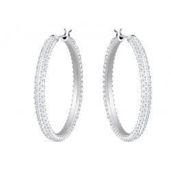 Stone Hoop Pierced Earrings, White, Rhodium plating
