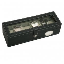 Caja 6 Relojes Color Negro Ovalo Plata