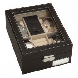 Caja 4 Relojes y Joyero Color Marron Aplique Plata
