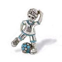 Figura Resina Baño Plata Niño Futbolista