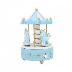 Carrusel Azul Unicornios Aplique Estrella