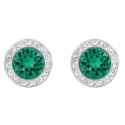 Angelic Pierced Earrings, Green, Rhodium plated
