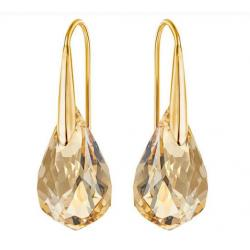Energic Pierced Earrings, Golden, Gold-tone plated
