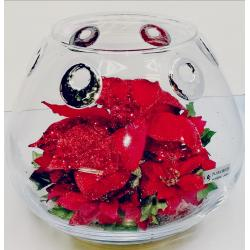 Centro Cristal decorado Rojo