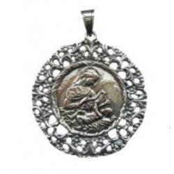 Medalla Cuna Plata Virgen con Niño Jesus