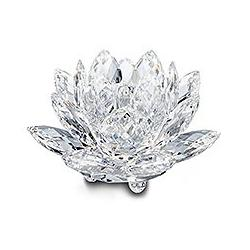 Waterlily Candleholder Medium Silver Crystal