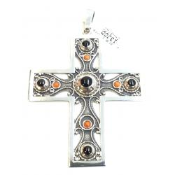 Azabache Jet Silver Cross