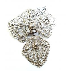 Azabache Jet Silver Pendant And Brooch