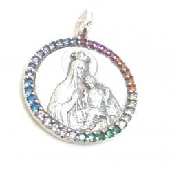 Medalla Plata Redonda Virgen Del Carmen Circonitas