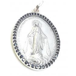 Medalla Plata Oval Virgen Milagrosa Circonitas