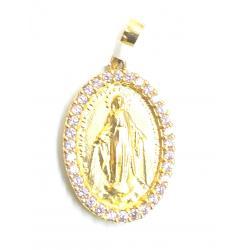 Medalla Plata Chapada Oval Virgen Milagrosa Circonitas