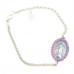 Pulsera Plata Oval Virgen Milagrosa Circonitas