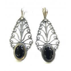 Azabache Jet Silver Earrings