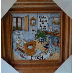 Ceramic and Wood Frame with Birth Details