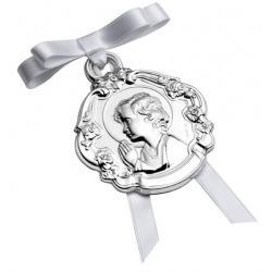Medalla Plata Cuna Redonda Niño con Flores