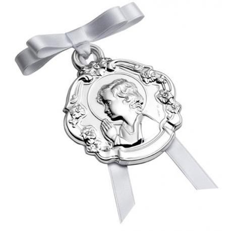 Medalla de Cuna Niño Perfil con Flores-00300059