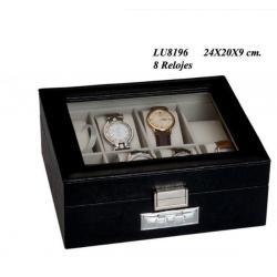 Caja Cuadrada 8 Relojes Tapa Cristal