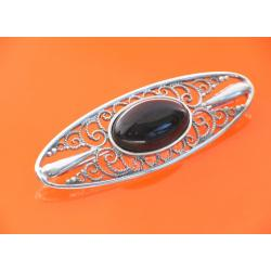 Azabache Silver Brooch